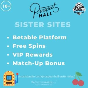 "Featured image for the Prospect Hall sister sites article showing the brand's logo and the text: ""Betable Platform. Free Spins. VIP Rewards. Match-up Bonus."""