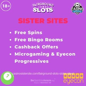 "Featured image for the Fairground Slots sister sites article showing the brand's logo and the text: ""Free Spins. Free Bingo Rooms. Cashback Offers. Microgaming & Eyecon Progressives."""