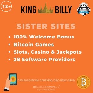 "Featured image for the King Billy sister sites article showing the brand's logo and the text: ""100% Welcome Bonus. Bitcoin Games. Slots, Casino & Jackpots. 28 Software Providers."""