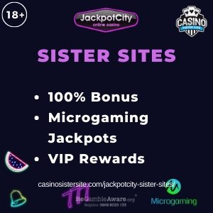 "Featured image for the Jackpotcity sister sites article showing the brand's logo and the text: ""100% Bonus. Microgaming Jackpots. VIP Rewards."""