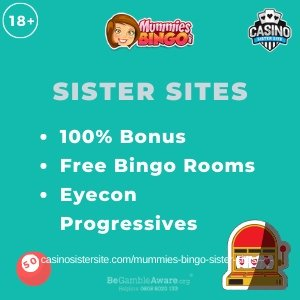 Banner image of the Mummies Bingo sister sites review showing the casino's logo and the text 'Sister Sites'. Below the text reads: 100% bonus, free bingo rooms, Eyecong progressives.