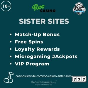 "Featured image for the Roo Casino sister sites article showing the brand's logo and the text: ""Match-Up Bonus. Free Spins. Loyalty Rewards. Microgaming Jackpots. VIP Program."""