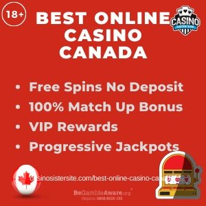 Banner image of the Best online casino Canada review displaying the text: free spins no deposit, 100% match up bonus, vip rewards and progressive jackpots.