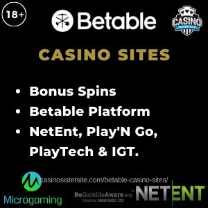 """Featured image for the Betable Casino sister sites article showing the brand's logo and the text: """"Bonus Spins. Betable Platform. NetEnt, Play'N Go, PlayTech & IGT."""""""