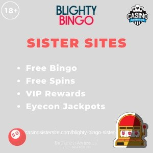 "Featured image for the Blighty Bingo sister sites article showing the brand's logo and the text: ""Free Bingo. Free Spins. VIP Rewards. Eyecon Jackpots."""