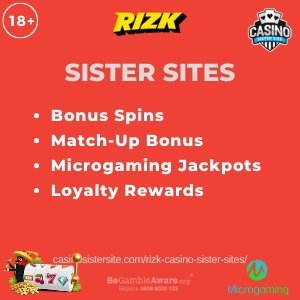 "Featured image for the Rizk sister sites article showing the brand's logo and the text: ""Bonus Spins. Match-up Bonus. Microgaming Jackpots. Loyalty Rewards."""