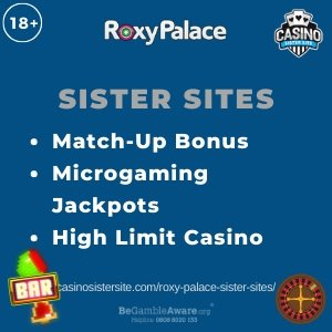 "Featured image for the Roxy Palace sister sites article showing the brand's logo and the text: ""Match-Up Bonus. Microgaming Jackpots. High Limit Casino"""