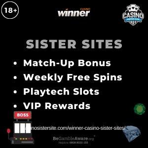 "Featured image for the Winner Casino sister sites article showing the brand's logo and the text: ""Match-up Bonus. Weekly Free Spins. Playtech Slots."""