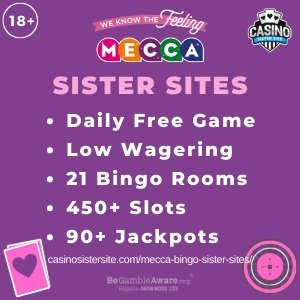 """Featured image Mecca Bingo Sister Sites banner with the header text: Mecca Bingo Sister Sites. Below the text reads: """"Daily free game, low wagering, 21 bingo rooms, 450+ slots and 90+ jackpots."""""""