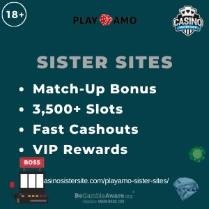 "Featured image for the Playamo sister sites review showing the text: ""Match-up bonus, 3,500+ slots, fast washouts, vip rewards."""