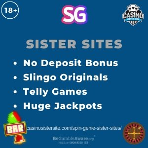 "Featured image of the Spin Genie sister sites review showing the text: ""No deposit bonus, Slingo originals, Telly games, Huge jackpots."""