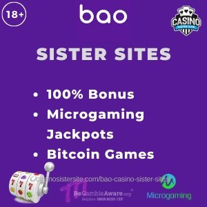 "Featured image of Bao Casino sister sites review showing the brand's logo and the text:""Bao Sister sites. 100% bonus. Microgaming jackpots. Bitcoin games."""