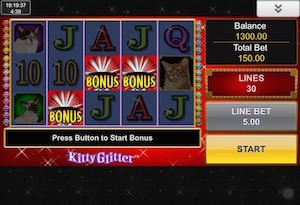 Screenshot of Kitty Glitter slot