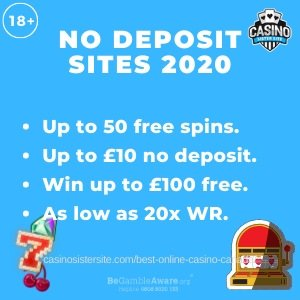 "Featured image of the No Deposit Sites 2020 review showing the text: ""No deposit sites 2020. Up to 50 free spins. Up to £10 no deposit. Win up to £100 free. As low as 20x wr."""
