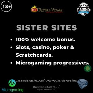 "Featured image of the Royal Vegas sister sites review showing the text: ""Royal Vegas sister sites. 100% welcome bonus. Slots, casino, poker & Scratchcards. Microgaming progressives."""