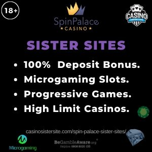 """Featured image of the Spin Palace sister sites review showing the text : """"Spin Palace sister sites. 100% deposit bonus. Microgaming slots. Progressive games. High Limit Casinos."""""""