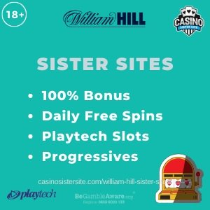 "Feature iamge of the William Hill Sister Sites review showing the logo of the casino brand and the text: ""William Hill sister sites. 100% match-up bonus. Daily free spins. Playtech slots. Progressive jackpots."""