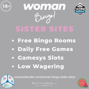 "Featured image for the Woman Bingo sister sites article showing the brand's logo and the text: ""Free Bingo Rooms. Daily Free Games. Gamesys Slots. Low Wagering."""