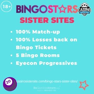 "Featured image for the Bingo Stars sister sites article showing the brand's logo and the text: ""100% Match-up. 100% Losses back on. Bingo Tickets. 5 Bingo Rooms. Eyecon Progressives."""