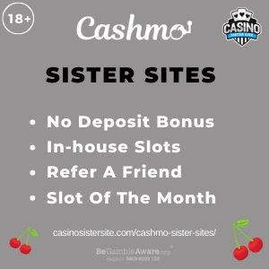 Featured image for the Cashmo sister sites review showing the logo of the casino brand and the text: