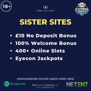 "Featured image of the UK Casino Sister Sites review showing the text:""UK Casino Sister Sites. £10 no deposit bonus. 100% welcome bonus. 400+ online slots. Eyecon jackpots."""