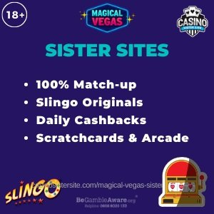 "Featured image for the Magic Red Casino sister sites review article showing the brand's logo and text: ""Sister sites. 100% Match-up. Slingo Originals. Daily Cashbacks. Scratchcards & Arcade"""