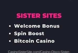 """Featured image for the Casino Disco sister sites article showing the brand's logo and the text: """"Welcome Bonus. Spin Boost. Bitcoin Casino."""""""
