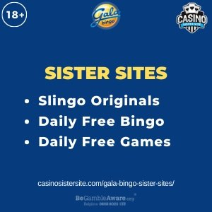 """Banner for the Gala Bingo sister sites review showing the brand's logo and the text: """"Gala Bingo sister sites. Slingo Originals. Daily free bingo. Daily free games."""""""