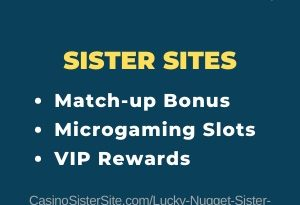 "Featured image for the Lucky Nugget sister sites article showing the brand's logo and the text: ""Match-up Bonus. Microgaming Slots. VIP Rewards."""