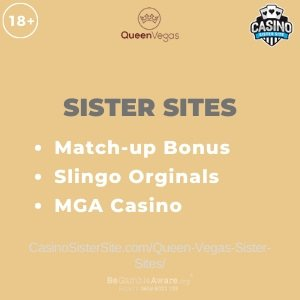 "Featured image for the Queen Vegas sister sites article showing the brand's logo and the text: ""Match-up Bonus. Slingo Originals. MGA Casino"""