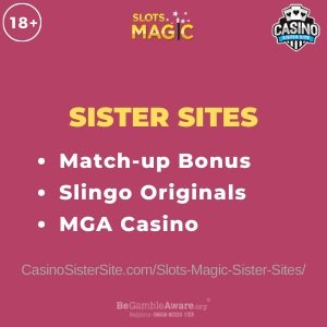 """Featured image for the Slots Magic sister sites article showing the brand's logo and the text: """"Match-up Bonus. Slingo Originals. MGA Casino"""""""