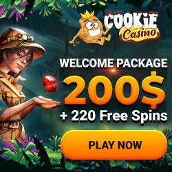 Banner image for Cookie Casino sister sites review article showing welcome package of $200 + 220 free spin