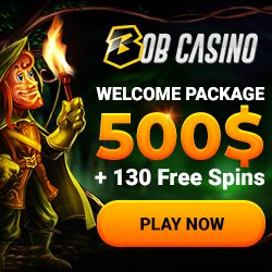 Banner image for Bob Casino sister sites review article showing welcome package of $500 + 130 free spins
