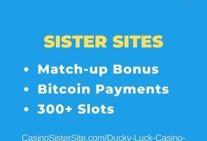 "Featured image for the Ducky Luck sister sites review article showing the brand's logo and the text: ""Match Up Bonus. Bitcoin Payments. 300+ Slots."""