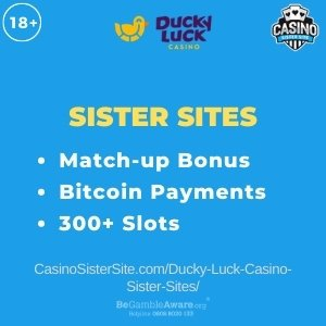 """Featured image for the Ducky Luck casino sister sites review article showing the brand's logo and the text: """"Match Up Bonus. Bitcoin Payments. 300+ Slots."""""""