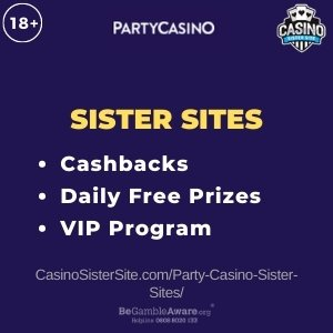 "Featured image for the Party Casino sister sites review article showing the brand's logo and the text: ""Cashbacks. Daily Free Prizes. VIP Program."""