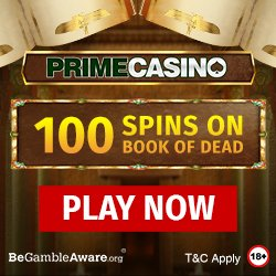 Banner image for Prime Casino sister sites review article showing 100 Spins on Book of Dead