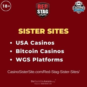 """Featured image for the Red Stag Sister Sites review showing the brand's logo and the text: """"Sister sites. USA Casinos. Bitcoin casinos. WGS Platforms."""""""