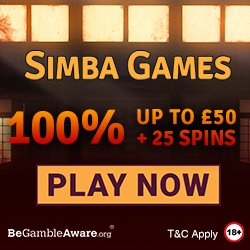 Banner image for Simba Games sister sites review article showing 100% welcome bonus up to £50 + 25 spins