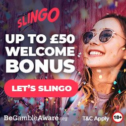 Banner image for Slingo sister sites review article showing up to £50 welcome bonus