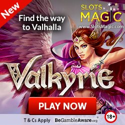 """Banner image for Slots Magic sister sites review article showing: """"Find the way to Valhalla"""
