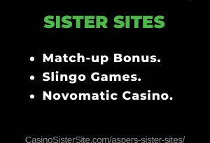 Feature image for the Aspers sister sites article showing the brand's logo and the text: Match-up bonus, Slingo games and Novomatic Casino.