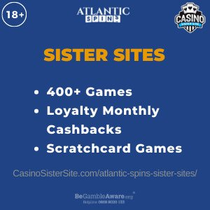 Feature image for the Atlantic Spins sister sites article showing the brand's logo and the text: 400+ Games. Loyalty Monthly Cashbacks. Scratchcard Games