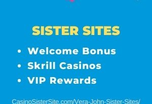 "Banner image for the Vera John sister sites review showing the brand's logo and the text: ""Vera and John sister sites - Welcome bonus. Skrill casinos. VIP Rewards."""