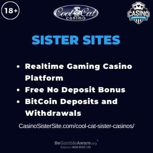 "Featured image for Cool Cat Sister Casinos with brand's logo and text: ""Realtime Gaming Casino Platform. Free No Deposit Bonus. BitCoin Deposits and Withdrawals."""
