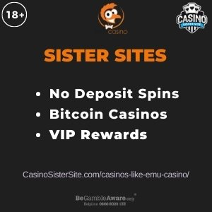 "Featured image for Casinos like Emu Casino with brand's logo and text: ""No deposit spins. Bitcoin Casinos. VIP Rewards."""