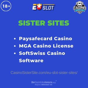 Feature image for the EU Slot sister sites article showing the brand's logo and the text: Paysafecard Casino. MGA Casino License. SoftSwiss Casino Software.
