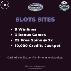 Family Fortunes Slots Sites - Play with 30 free spins bonus. 1