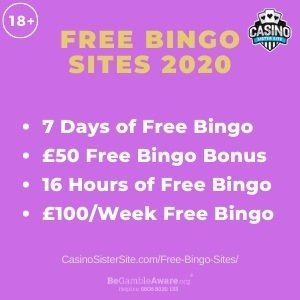 "Feature image for the Free Bingo Sites 2020 article showing the text: ""Free Bingo Sites 2020. 7 days of free bingo. £50 free bingo bonus. 16 hours of free bingo. £100 per week free bingo."""