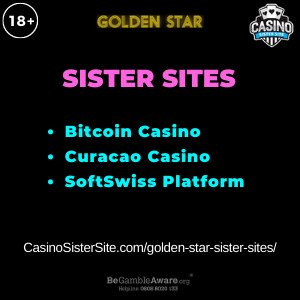 Feature image for the Golden Star sister sites article showing the brand's logo and the text: Bitcoin Casino. Curacao Casino. SoftSwiss Platform